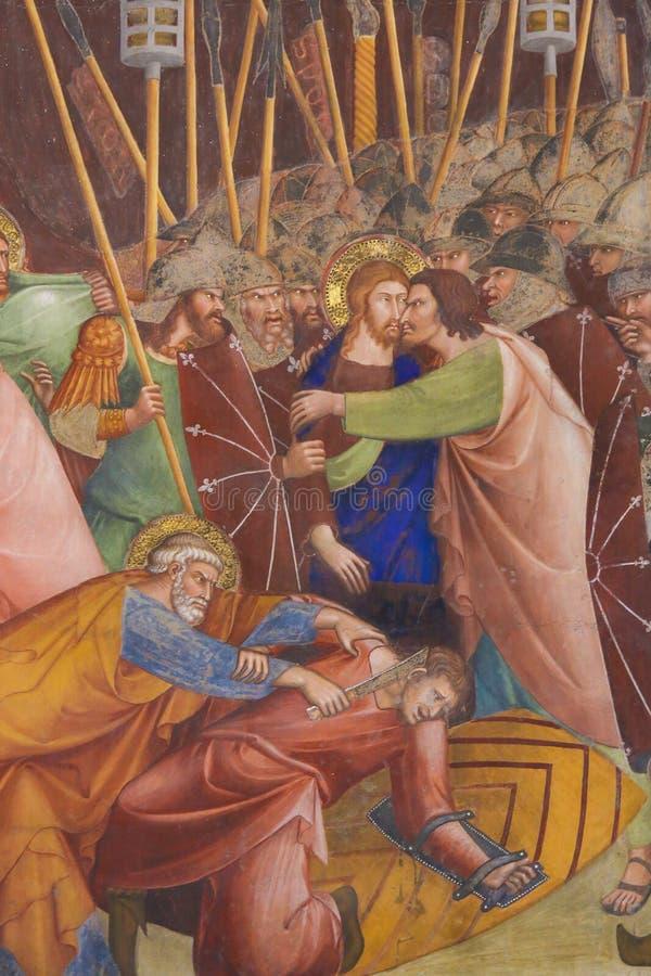 Νωπογραφία στο SAN Gimignano - φιλί Judas στοκ φωτογραφία με δικαίωμα ελεύθερης χρήσης