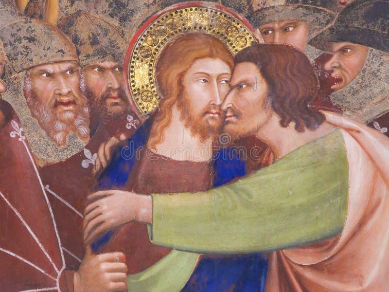 Νωπογραφία στο SAN Gimignano - φιλί Judas στοκ φωτογραφίες