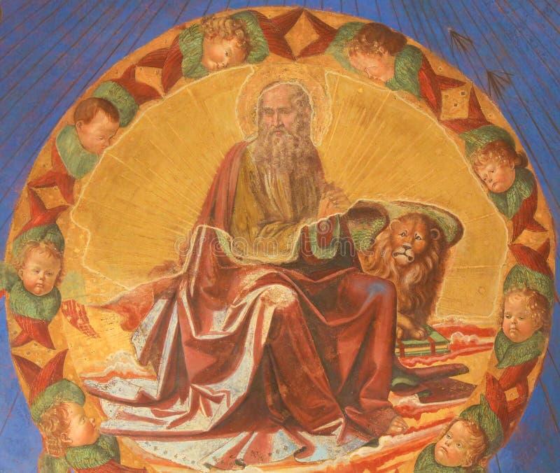 Νωπογραφία στο SAN Gimignano - χαρακτηρίστε το Ευαγγελιστή στοκ φωτογραφία