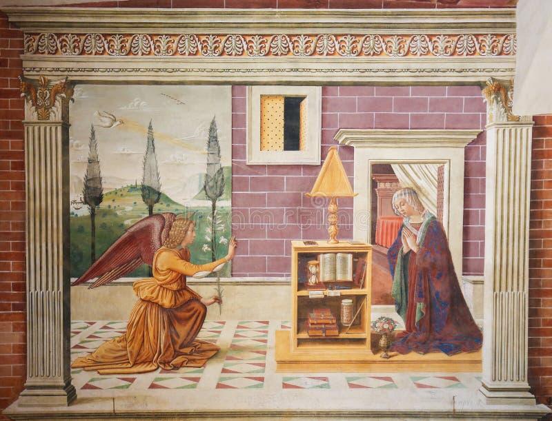 Νωπογραφία στο SAN Gimignano - Annunciation στοκ φωτογραφίες με δικαίωμα ελεύθερης χρήσης