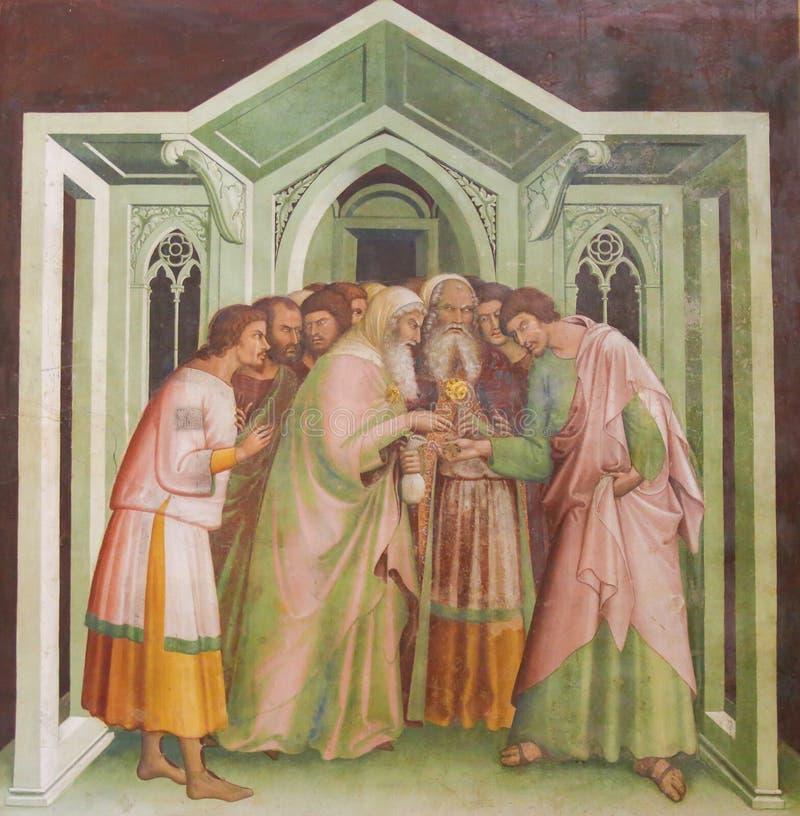 Νωπογραφία στο SAN Gimignano - Judas προδίδει τον Ιησού στοκ φωτογραφία
