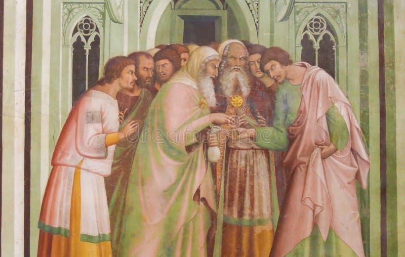 Νωπογραφία στο SAN Gimignano - Judas προδίδει τον Ιησού στοκ φωτογραφία με δικαίωμα ελεύθερης χρήσης