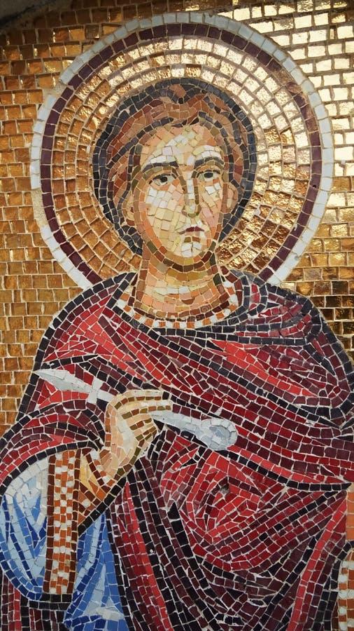Νωπογραφία του Αγίου στον τοίχο του ναού στη Κύπρο στοκ εικόνες
