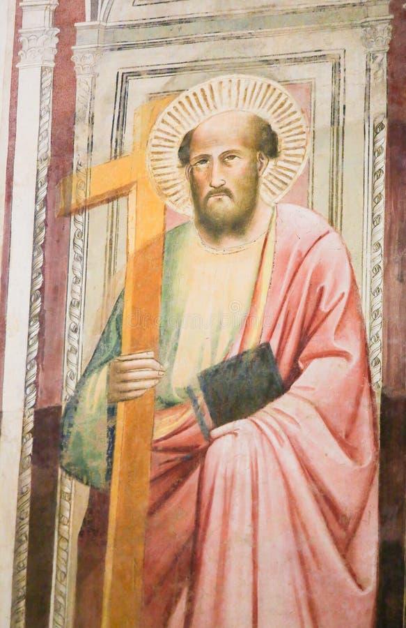 Νωπογραφία του σημαδιού Αγίου ο Ευαγγελιστής στη βασιλική Santa Croce, στοκ φωτογραφίες