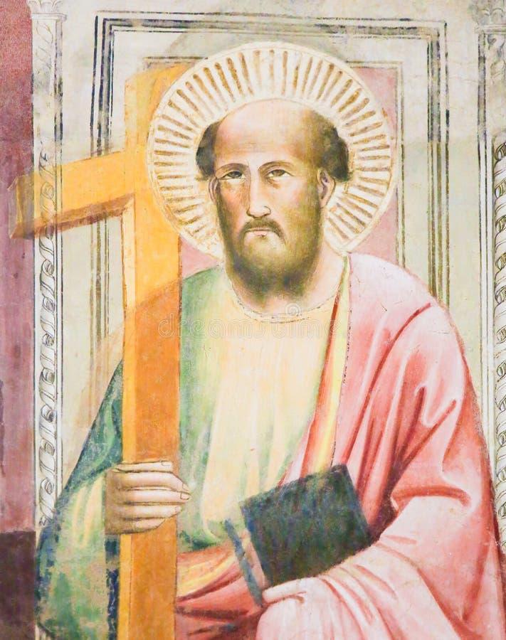 Νωπογραφία του σημαδιού Αγίου ο Ευαγγελιστής στη βασιλική Santa Croce, στοκ φωτογραφία με δικαίωμα ελεύθερης χρήσης