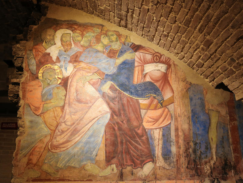 Νωπογραφία Crypt του καθεδρικού ναού της Σιένα - φιλί Judas στοκ φωτογραφία με δικαίωμα ελεύθερης χρήσης