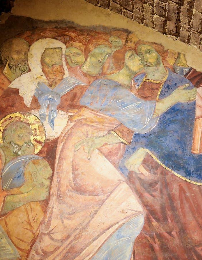 Νωπογραφία Crypt του καθεδρικού ναού της Σιένα - φιλί Judas στοκ εικόνες