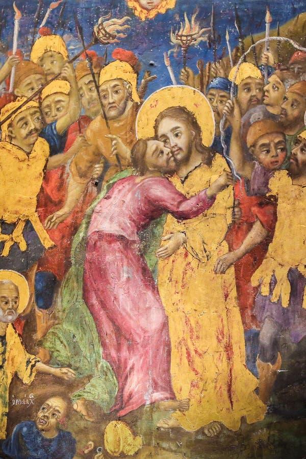 Νωπογραφία Judas που προδίδει τον Ιησού με ένα φιλί στην εκκλησία του ιερού τάφου, Ιερουσαλήμ στοκ φωτογραφία