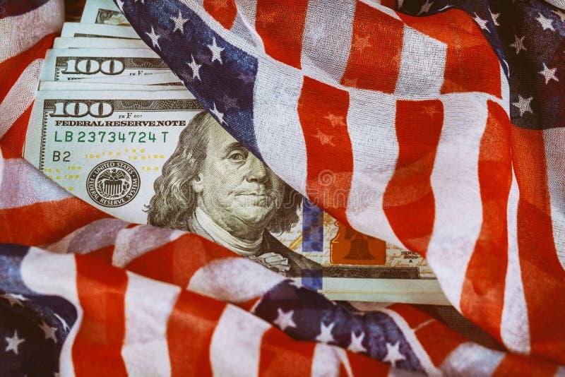 Νόμισμα αμερικανικών δολαρίων, τραπεζογραμμάτια της Αμερικής, των χρημάτων και της χρηματοδότησης στοκ εικόνες