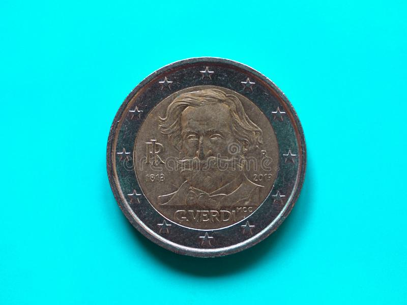 Νόμισμα δύο ευρώ, Ευρωπαϊκή Ένωση πέρα από το πράσινο μπλε στοκ φωτογραφία με δικαίωμα ελεύθερης χρήσης