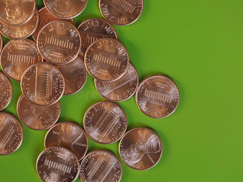 Νόμισμα ενός δολαρίου σεντ, Ηνωμένες Πολιτείες με το διάστημα αντιγράφων στοκ εικόνες με δικαίωμα ελεύθερης χρήσης