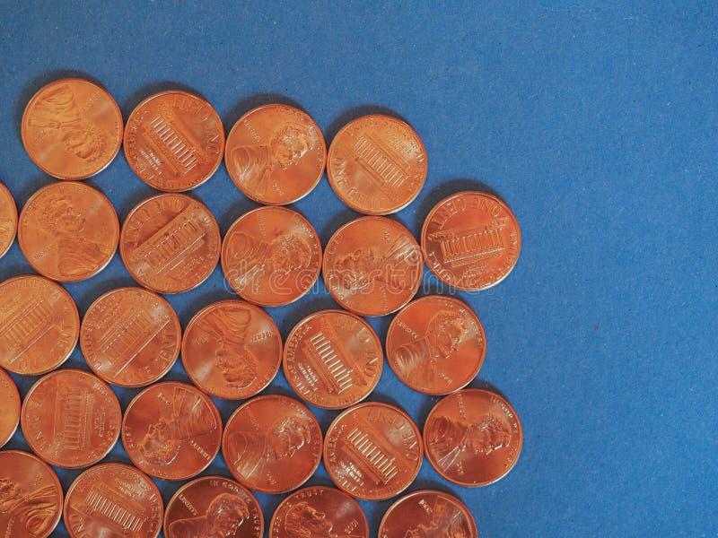 Νόμισμα ενός δολαρίου σεντ, Ηνωμένες Πολιτείες πέρα από το μπλε στοκ φωτογραφίες με δικαίωμα ελεύθερης χρήσης