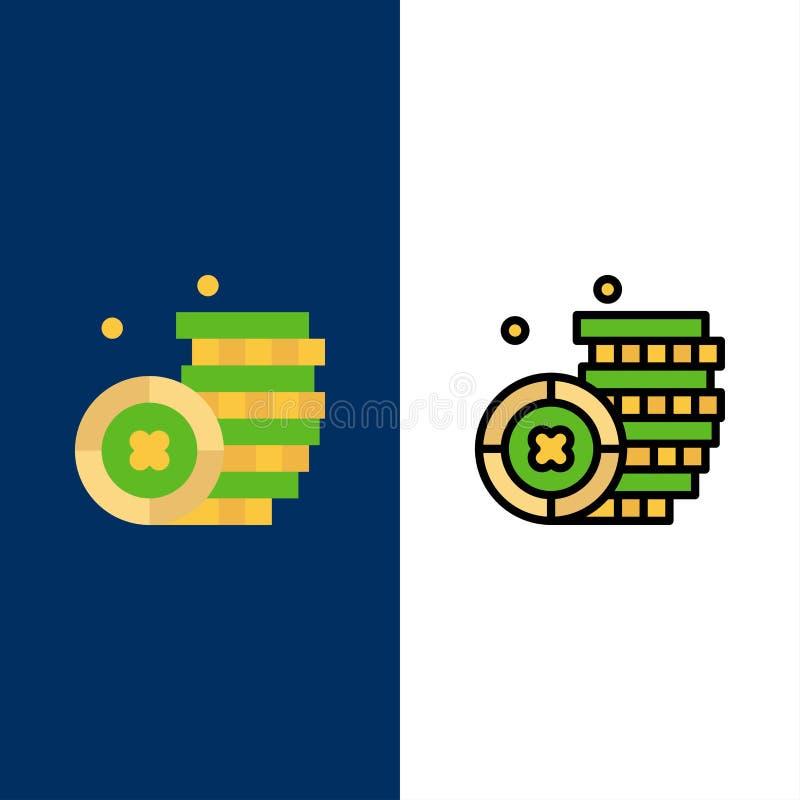 Νόμισμα, Ιρλανδία, εικονίδια χρημάτων Επίπεδος και γραμμή γέμισε το καθορισμένο διανυσματικό μπλε υπόβαθρο εικονιδίων διανυσματική απεικόνιση