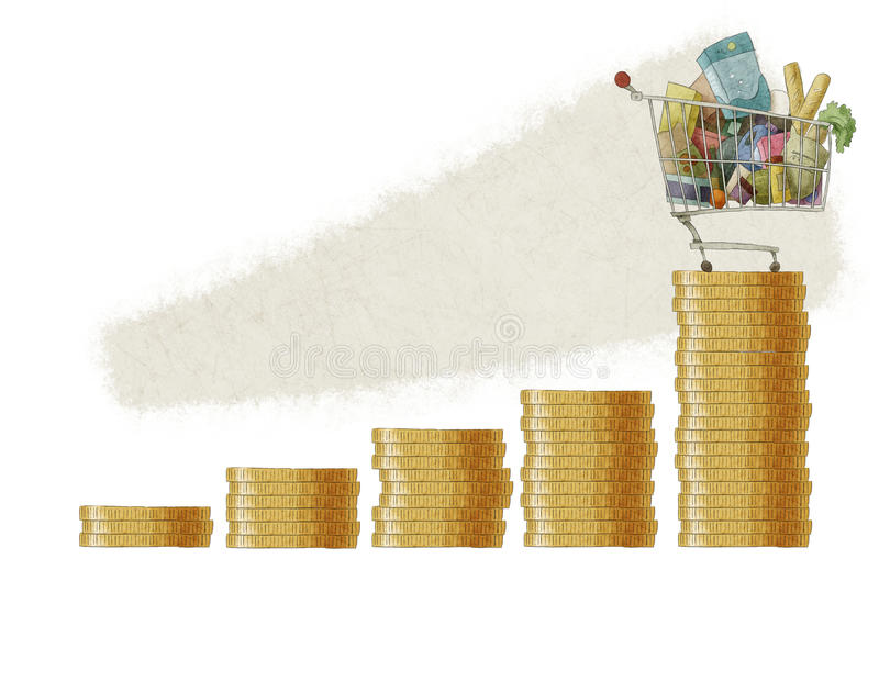 Νόμισμα κάρρων αγορών bargraph διανυσματική απεικόνιση