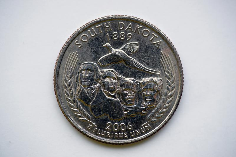 Νόμισμα 25 σεντ - νότια Ντακότα τετάρτων ` ` Ουάσιγκτον στοκ εικόνες με δικαίωμα ελεύθερης χρήσης