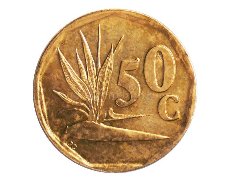 Νόμισμα 50 σεντ, 1961~1994 - πρώτη Δημοκρατία - κυκλοφορία serie, τράπεζα της Νότιας Αφρικής στοκ εικόνα
