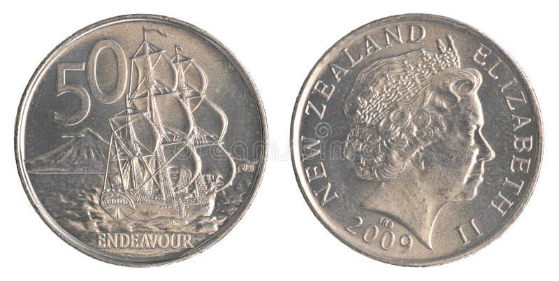 50 νόμισμα σεντ της Νέας Ζηλανδίας στοκ εικόνες