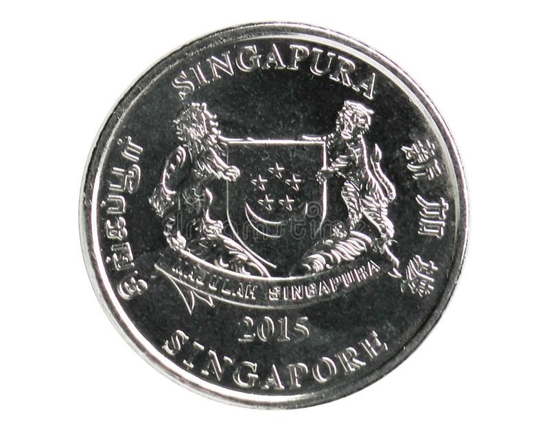 Νόμισμα 20 σεντ, 2013~Today - κυκλοφορία - 3$η σειρά, τράπεζα της Σιγκαπούρης στοκ εικόνες