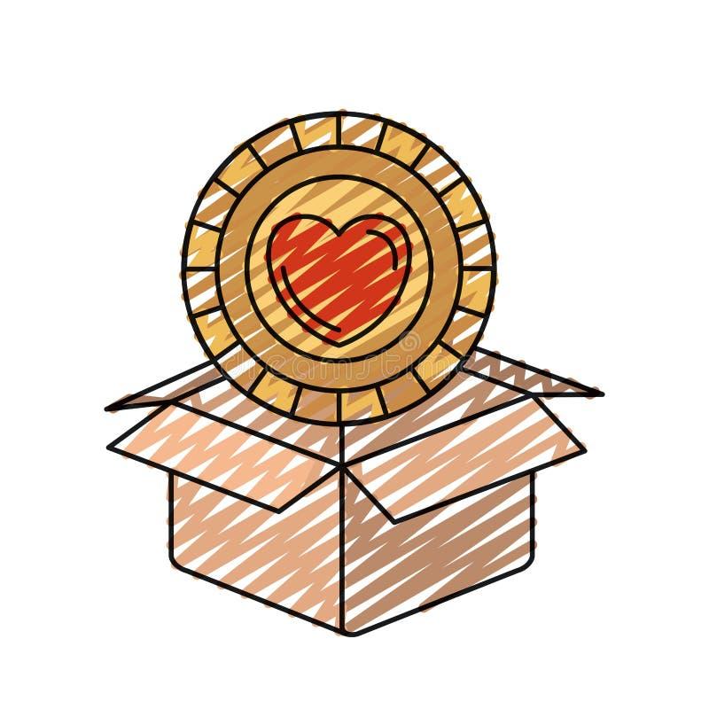 Νόμισμα σκιαγραφιών κραγιονιών χρώματος με τη μορφή καρδιών μέσα στην έξοδο από του κουτιού από χαρτόνι απεικόνιση αποθεμάτων