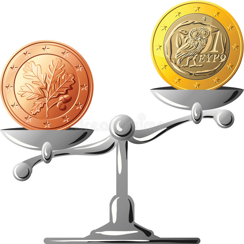 νόμισμα τα ευρο- γερμανικά ελληνικά εναντίον ελεύθερη απεικόνιση δικαιώματος