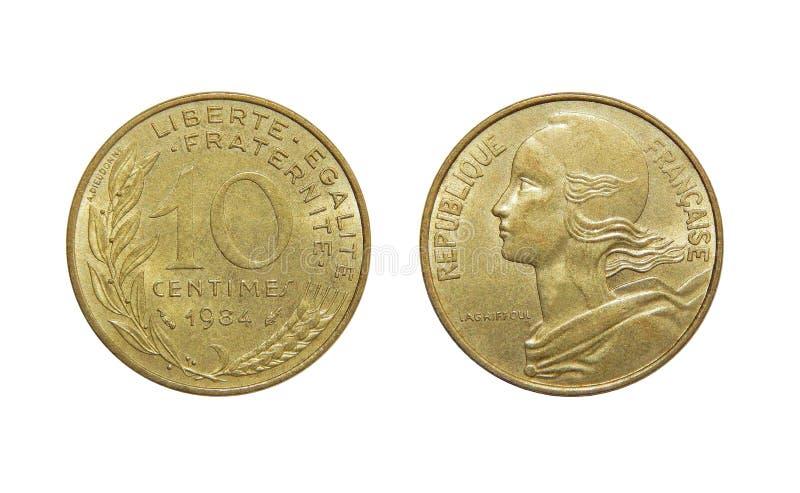 Νόμισμα της Γαλλίας 10 σαντίμ στοκ εικόνες
