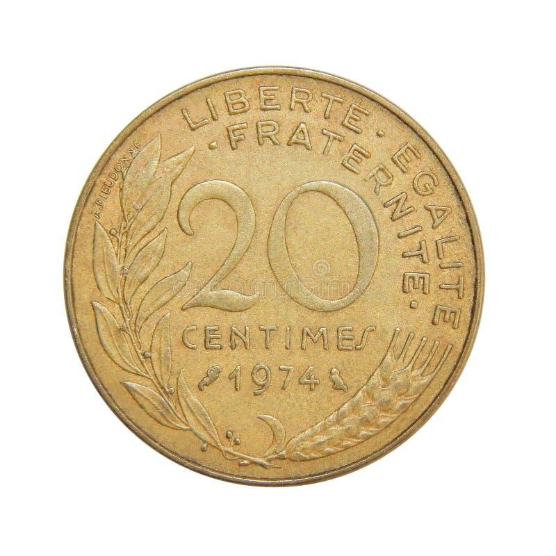 Νόμισμα της Γαλλίας 20 σαντίμ στοκ φωτογραφία