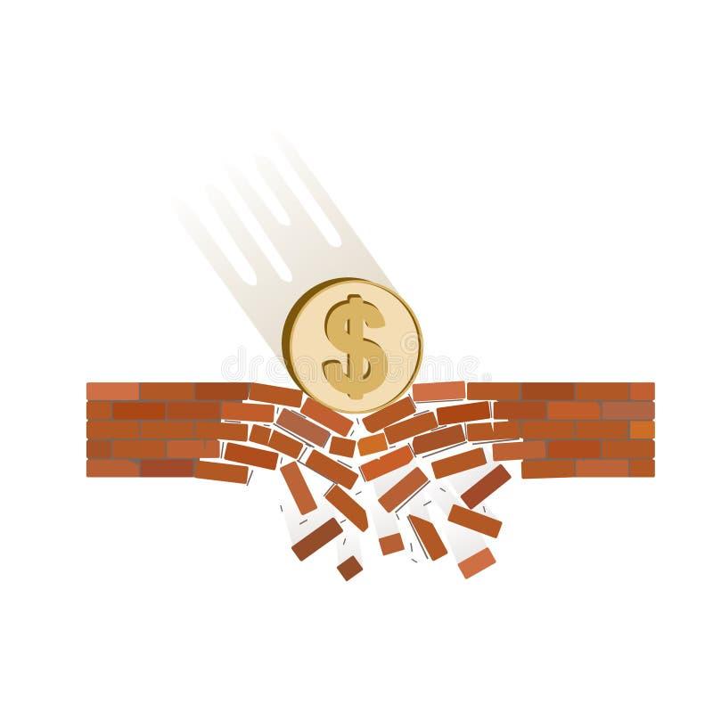Νόμισμα της πτώσης δολαρίων κάτω σε ένα άσπρο υπόβαθρο απεικόνιση αποθεμάτων
