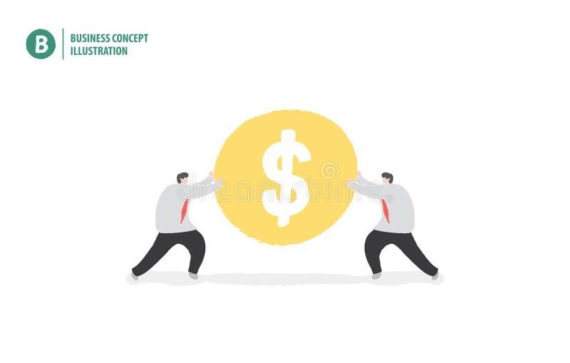 Νόμισμα χρημάτων εκμετάλλευσης επιχειρηματιών που σημαίνει τη συνεργασία ή την ομαδική εργασία ελεύθερη απεικόνιση δικαιώματος