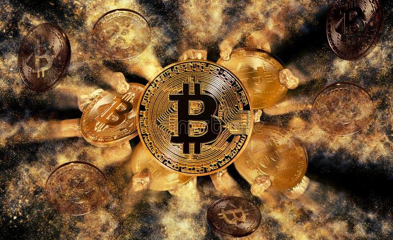 Νόμισμα Bitcoin και ανάχωμα των χρυσών ψηγμάτων διανυσματική απεικόνιση