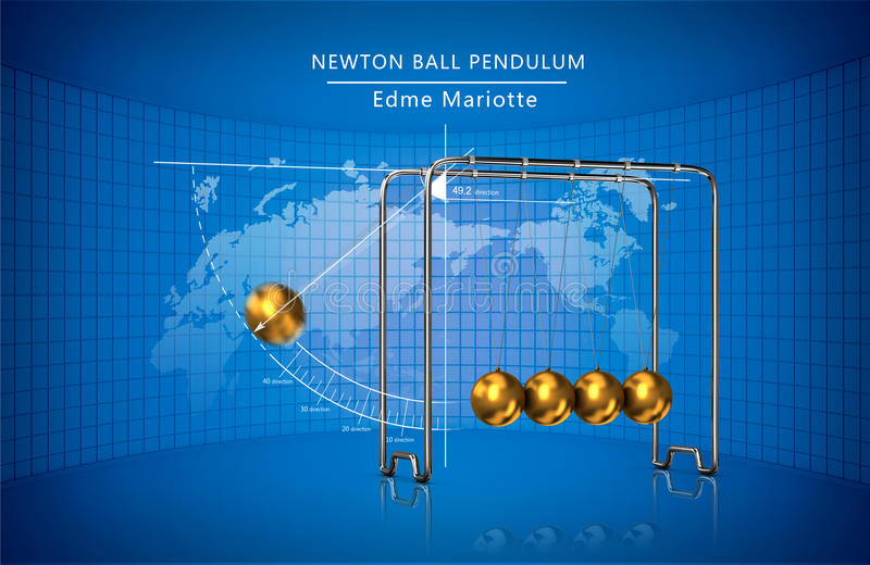 Νόμοι μετακίνησης εκκρεμών σφαιρών Newton στοκ εικόνα