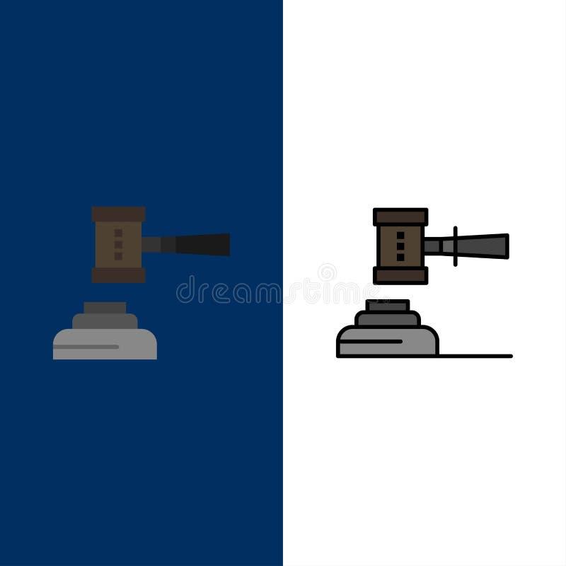 Νόμος, δράση, δημοπρασία, δικαστήριο, Gavel, σφυρί, δικαστής, νομικά εικονίδια Επίπεδος και γραμμή γέμισε το καθορισμένο διανυσμα απεικόνιση αποθεμάτων