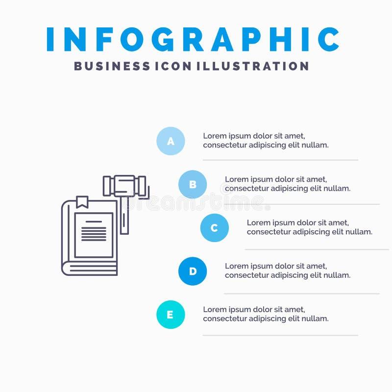 Νόμος, δράση, δημοπρασία, δικαστήριο, Gavel, σφυρί, νομικό εικονίδιο γραμμών με το υπόβαθρο infographics παρουσίασης 5 βημάτων απεικόνιση αποθεμάτων