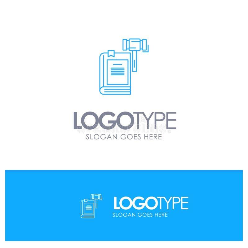 Νόμος, δράση, δημοπρασία, δικαστήριο, Gavel, σφυρί, νομικό μπλε λογότυπο περιλήψεων με τη θέση για το tagline απεικόνιση αποθεμάτων