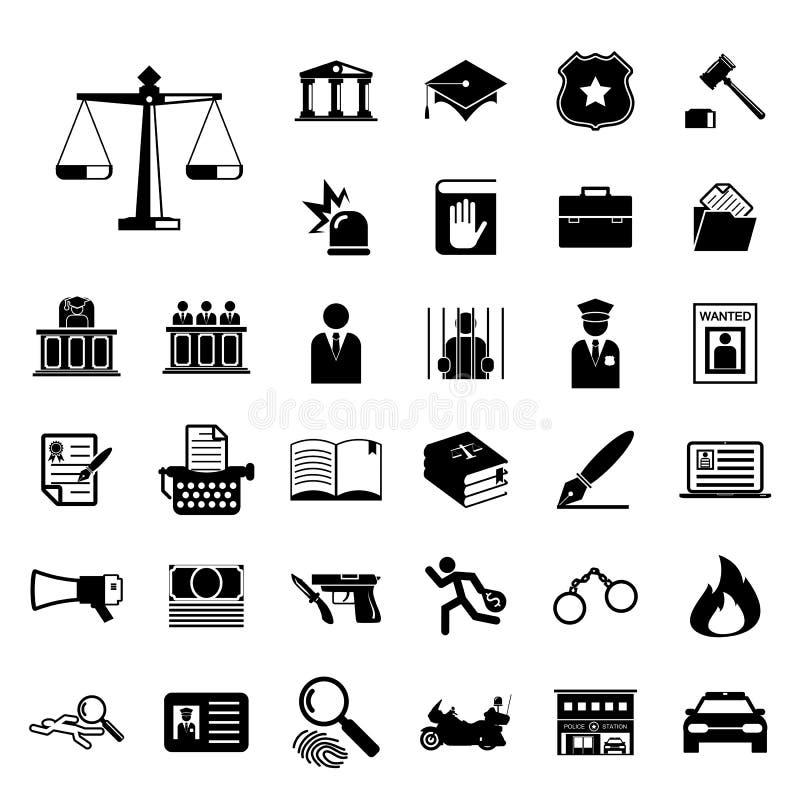 Νόμος και σύνολο εικονιδίων αστυνομίας διανυσματική απεικόνιση