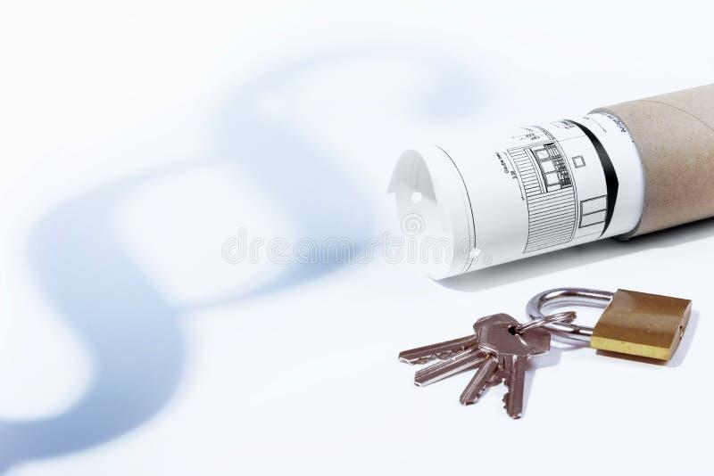 Νόμος, παράγραφος, νόμος μίσθωσης, λουκέτο και κλειδιά, νόμος κτηρίου, σχέδιο οικοδόμησης στοκ φωτογραφία