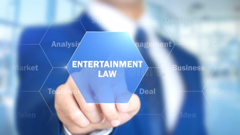 Νόμος ψυχαγωγίας, άτομο που λειτουργεί στην ολογραφική διεπαφή, οπτική οθόνη στοκ εικόνες