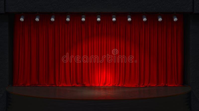 Νόμος drape με τις κόκκινες κουρτίνες στοκ φωτογραφία