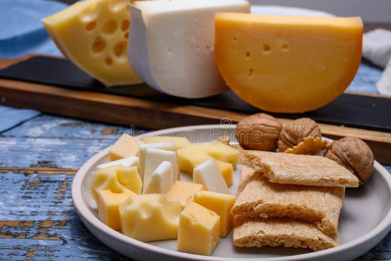 Νόστιμα σνακ, τυριά από ολλανδικά κίτρινα γκούντα και λευκά τυριά κατσίκας και γάλλικα τυριά στοκ εικόνες με δικαίωμα ελεύθερης χρήσης
