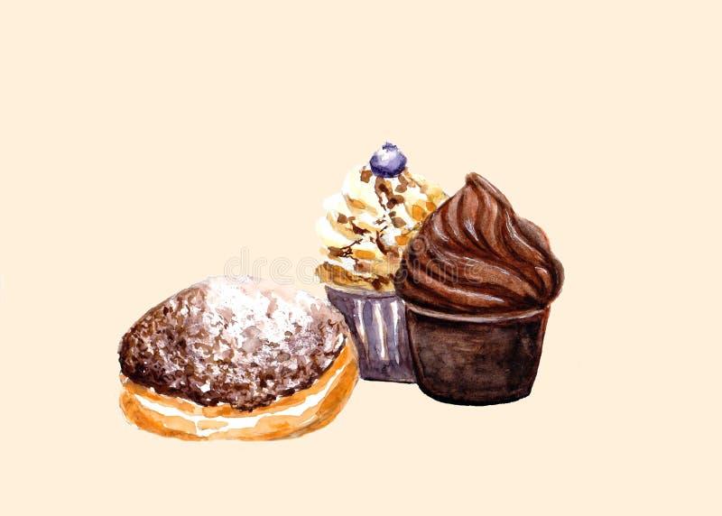 Νόστιμα σοκολάτα και καραμέλα cupcakes και doughnut στο μαύρο πίνακα Συρμένη χέρι απεικόνιση watercolor απεικόνιση αποθεμάτων