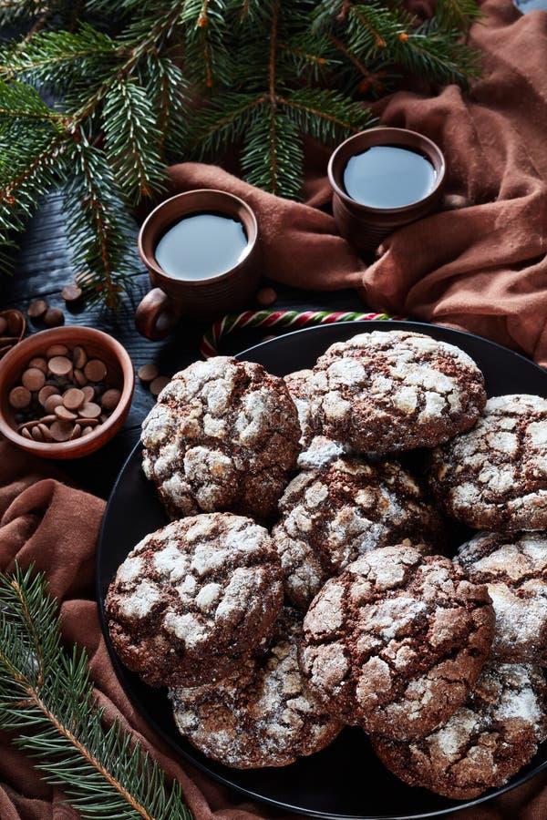 Νόστιμα Crinkle γλυκιάς σοκολάτας μπισκότα, τοπ άποψη στοκ φωτογραφίες