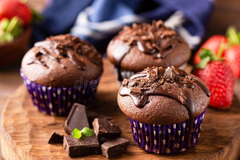 Νόστιμα muffins σοκολάτας στοκ εικόνες