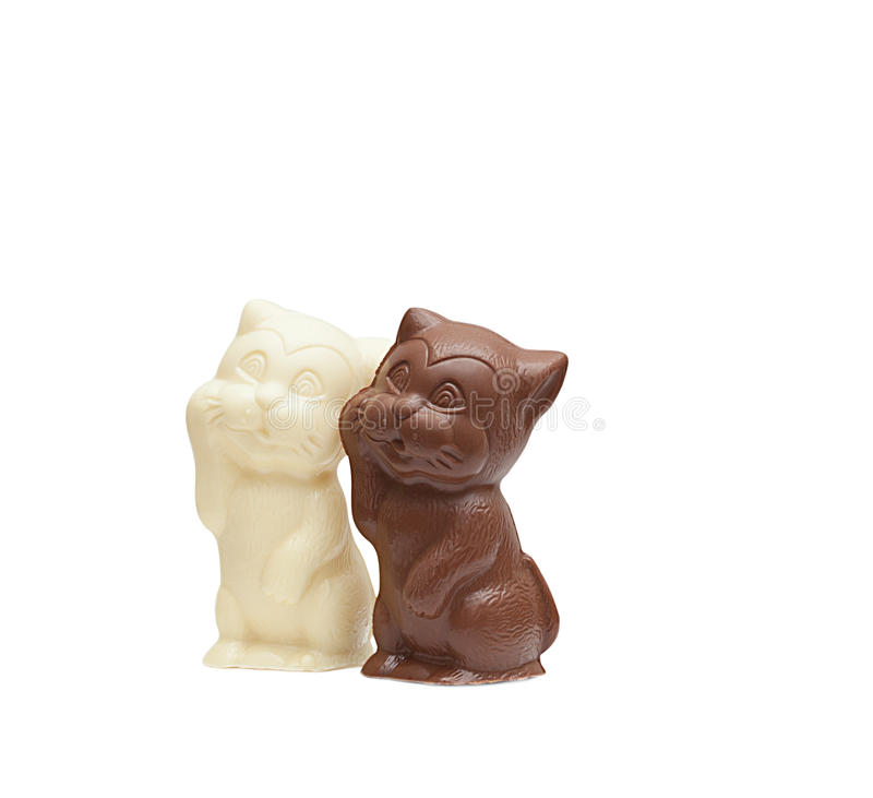 Νόστιμες γάτες σοκολάτας που απομονώνονται στο λευκό στοκ φωτογραφία