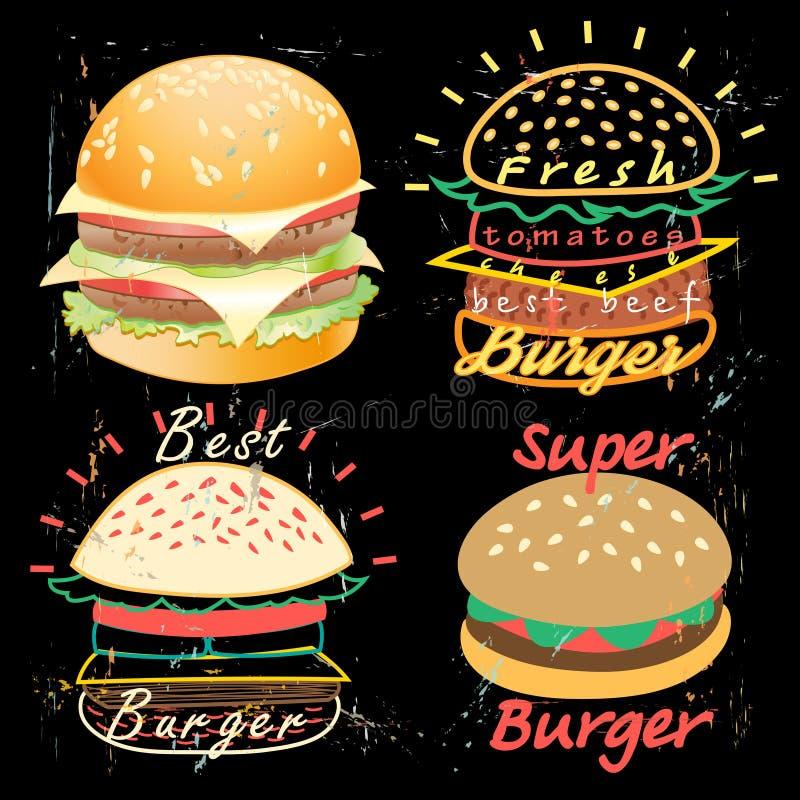 Νόστιμες επιλογές τροφίμων burgers διανυσματική απεικόνιση