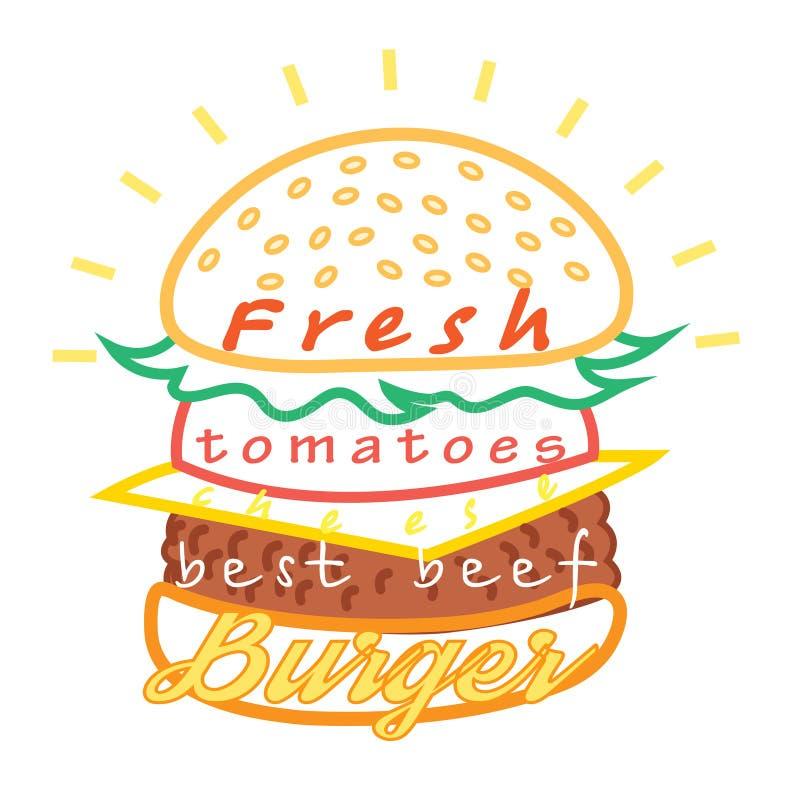 Νόστιμες burger επιλογές τροφίμων διανυσματική απεικόνιση
