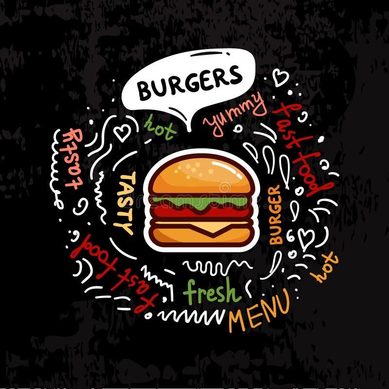 Νόστιμη διανυσματική απεικόνιση επιλογών burgers γρήγορου φαγητού διανυσματική απεικόνιση