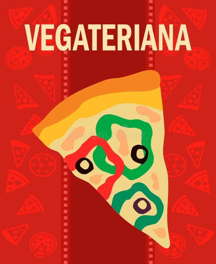 Νόστιμη επίπεδη διανυσματική αφίσα φετών πιτσών Vegetariana ελεύθερη απεικόνιση δικαιώματος
