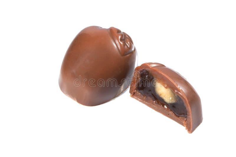 Νόστιμη καραμέλα σοκολάτας στη μορφή του μήλου στοκ εικόνα