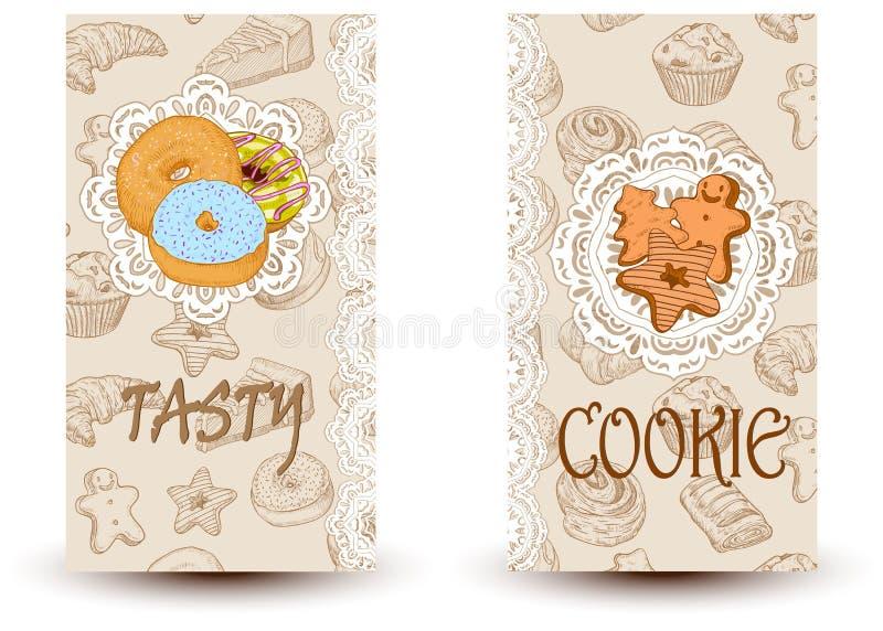 Νόστιμος και μπισκότα Στοιχεία σχεδίου στο ύφος σκίτσων για τα καταστήματα βιομηχανιών ζαχαρωδών προϊόντων και αρτοποιείων διανυσματική απεικόνιση