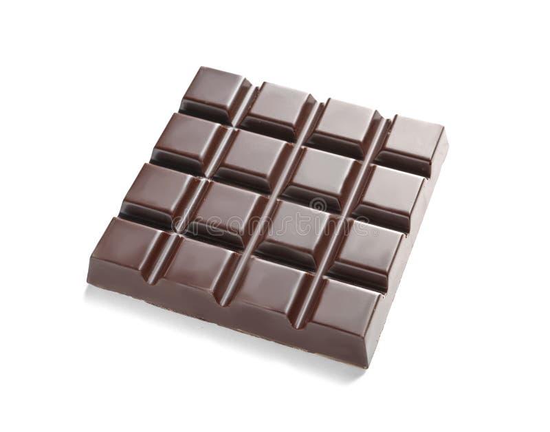Νόστιμος σκοτεινός φραγμός σοκολάτας στο λευκό στοκ εικόνες