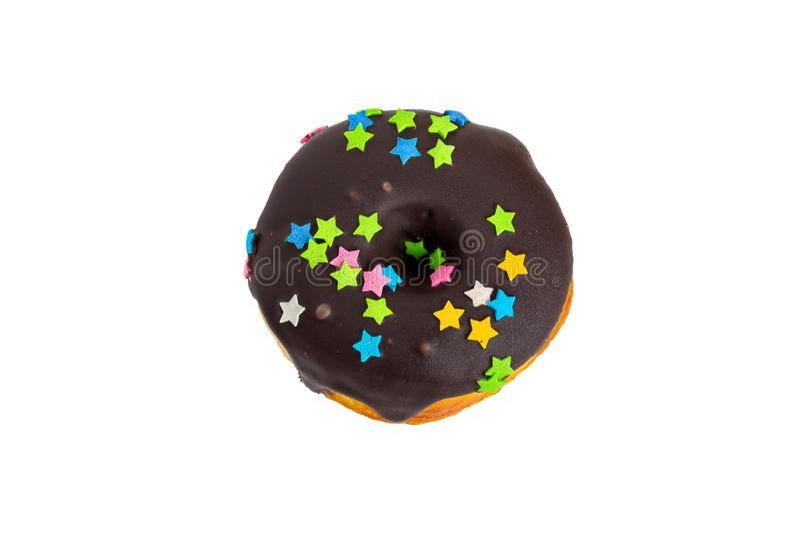 Νόστιμο βερνικωμένο doughnut που απομονώνεται στο άσπρο υπόβαθρο στοκ εικόνες